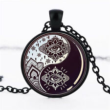 Wholesale Cabochon Glass Black  Chain Pendant Necklace,Magic eye of Yin and Yang