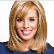 Natural Short Straight Bob Wig Synthetic Hair For Women Fake Hair with Bang UK