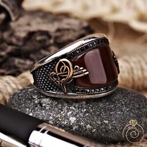 Natural Agate Stone Handmade Silver Men Ring Ottoman Signet Gemini Birthday Gift