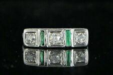 $1,750 Vintage Art Deco 18K White Gold Old Miner Diamond Green Emerald Ring 4.75