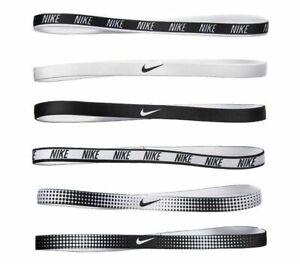 NEW! Nike Women's Printed Headbands Assorted 6PK White/Black Size One Size