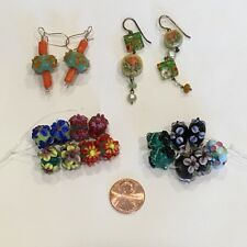 Lot of high quality lampwork beads & two pairs of lampwork bead earrings flowers