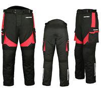 Waterproof Motorbike Motorcycle Trouser Pent Gears CE Armoured Lined - Red