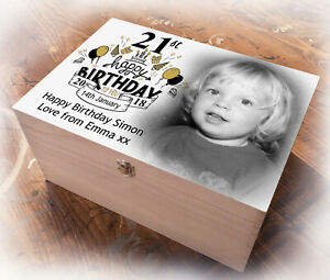 21st, 18th or 16th birthday present, Large wooden memory box, keepsake gift