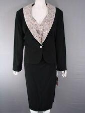 Hermoso Lisa Tibaldi italiano Couture Negro y Gris Chaqueta y vestido traje de Tamaño 22