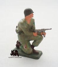 Figurine Vintage Militaire Starlux Soldat US à genoux avec mitraillette