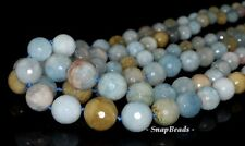 GRADATED AQUAMARINE GEMSTONE FACETED  16MM-6MM ROUND NECKLACE / LOOSE BEADS 19""