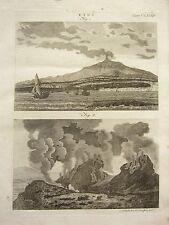 1797 PRINTS ~ MOUNT ETNA ERUPTING ANCIENT TREE VOLCANO + ETNA TEXT ARTICLE