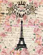 J.Raes Exclusive Altered Art Eiffel Tower Paris Fabric Block 5x7