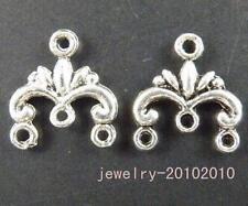 130pcs Tibetan Silver  3-to-1 Earring Connectors 12x13mm 10724