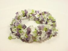 Semi Precious Multi Stones Stretch Bracelet Jasper purple Lime Clear green