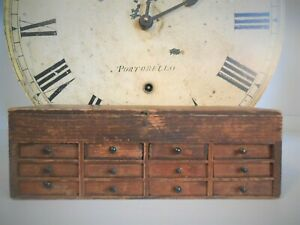 Antique Watchmakers Cabinet Chest Box 12 Drawers c 1920 Rare PINE AAFA