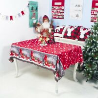 Christmas Santa Tablecloth Print Table Cover Xmas Party Home Dinner Decor Gifts