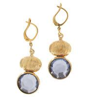 """Blue Rhinestone Drop Dangle Gold Tone Leverback Pierced Earrings 1 1/2"""" Vintage"""