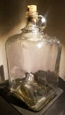 Rare Vintage Square 1 Gallon Clear Glass Bottle Jug MG Maywood Compton drinking
