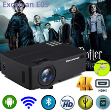LED Smart Home Theater Projector Android 6.0 4K Wifi Bluetooth HDMI 1080p Movie