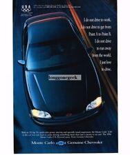 1996 Chevrolet Chevy MONTE CARLO Medium Adriatic Blue 4-door Sedan Vtg Print Ad