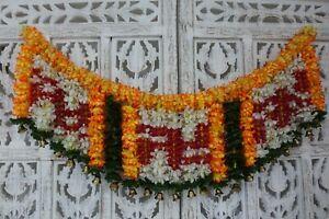Indian flower toran wedding home decoration+ brass bells SKU17114