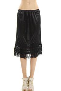 Women's Long Double Lace Satin Half Slip Skirt Extender for under dress or skirt