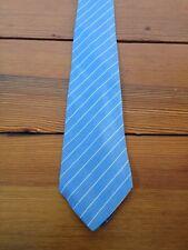 """Vintage Lanvin Paris 100% Silk Classic Blue Striped Schoolboy Preppy 3.25"""" Tie"""