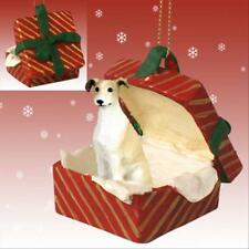 Greyhound Tan Dog RED Gift Box Holiday Christmas ORNAMENT