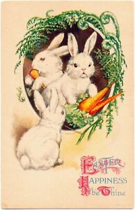 Ellen Clapsaddle Wolf Easter - A Fluffle of Rabbits & Their Carrot Dinner