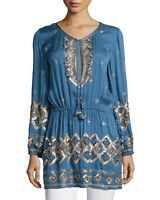 Calypso St Barth Small Fioretta Embellished Tunic Top Long Sleeves V-neck Blue