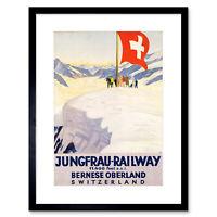 Travel Jungfrau Railway Swiss Flag Switzerland Alp Framed Wall Art Print