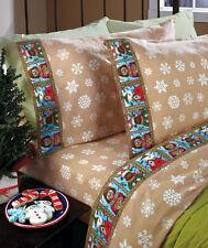 4-Pc. Debra Jordan Bryan Flannel Bedding Sheet Set Snowflakes Cottage Queen