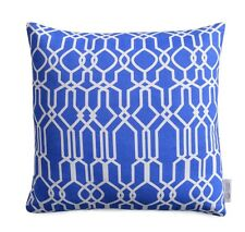 Greek Blue/Cobalt Blue Cushion Cover Geometric Pillow Moroccan Lattice Design