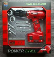 POWER TOOL 9 PIECE PLAYSET POWER DRILL W/ ACCESSORIES KIDS TOY DRILLS SCREWS