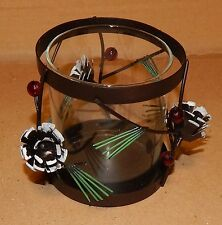 """Christmas Candle Holder Trimmerry 3.5"""" x3.5"""" Metal & Glass Pinecones/Berries 89K"""