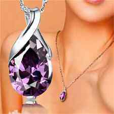 Women's Purple Silver Gemstone Amethyst Crystal Wedding Necklace Pendant Gift FT