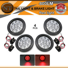 "4Pcs 4""12 LED Stop Tail Turn Brake Red Light Clear Lens Assembly Rubber Trailers"
