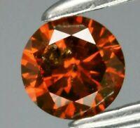 Diamante Marron Naranja fancy 0.16ct 3.5mm redondo natural de África