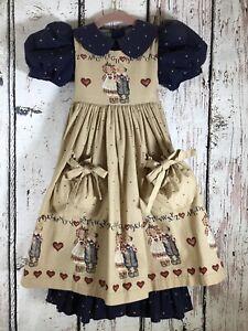 Vintage Daisy Kingdom Raggedy Ann & Andy Girls 2pc Pinafore Dress RARE SIZE 4/5?