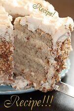 """☆""""RECIPE""""☆Banana Cake w/Praline Filling & White Chocolate Ganache☆Perfect!☆"""