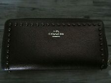 Coach Accordion Leather Rivets Wallet 53489 Bronze, Goldtone Hardware Free shipp
