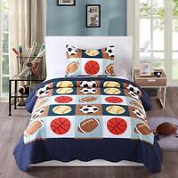 2pcs Kids Quilt Bedspread Comforter Set Throw Blanket for Boys Girls A13 quilt