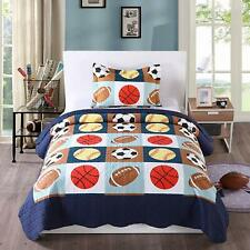 2pcs Kids Quilt Bedspread Comforter Set Throw Blanket for Boys Girls Quilt, A13