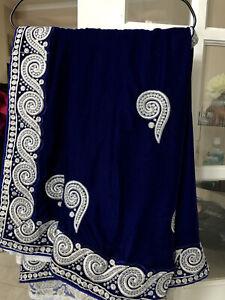 Velvet Blue And White Party Sari