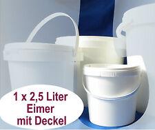 1 Eimer 2,5 Liter PP weiß leer neu Bügel Sicherheitsdeckel lebensmittelzulas