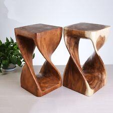 Thai Hand Carved Wood Stool Zen Seat Zazen Flower Pot Holder Plant Stand #2661
