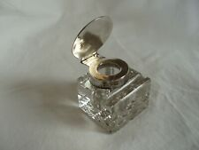 INKWELL VINTAGE GLASS & STERLING SILVER LONDON 1916