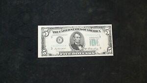 1950A Five Dollar FEDERAL RESERVE SLIGHT 3RD PRINT ERROR $5 BILL BUY IT NOW!