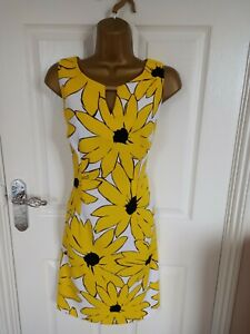 """Ronni Nicol Size UK-12 Unlined Shift dress  in Yellow/White/Black BUST 38"""""""