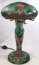 Emile Galle Art Glass Lamp Pink Cherry Blossoms Green Background Table Vintage