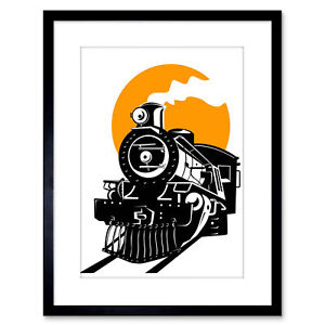 Painting Illustration Transport Retro Steam Train Railway Framed Print 9x7 Inch