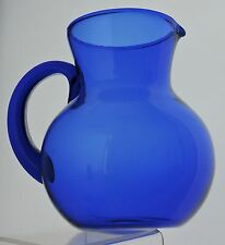 VINTAGE COBALT BLUE GLASS ROUND SHAPE CLASSIC PITCHER JUG