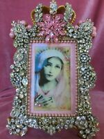 HAND EMBELLISHED PICTURE FRAME/VINTAGE  JEWELRY/ SPIRITUALITY/VIRGIN MARY